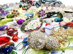 crystals beads jewellery as fashion background - stock photo