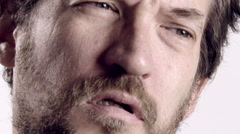 Tired man closeup slow motion Stock Footage