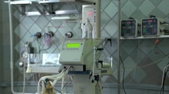Monitor for premature baby in incubator Stock Footage