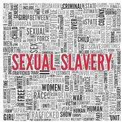 Sexual slavery concept in word tag cloud design Stock Illustration