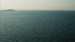 Stock Video Footage of Aerial Persian Gulf Dubai Ocean waters boat vessel UAE
