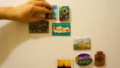 Fridge magnets, travel magnets time lapse Stock Footage