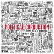 Political corruption concept word tag cloud design Stock Illustration