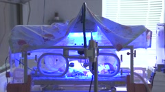 A premature baby in incubator Stock Footage