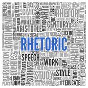 rhetoric concept word tag cloud design - stock illustration