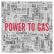power to gas concept word tag cloud design - stock illustration