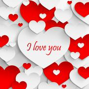 I love you. Abstract holiday background with paper hearts. Valentines day Stock Illustration