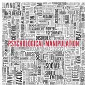 psychological manipulation word tag cloud design - stock illustration