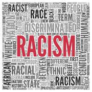 racism concept word tag cloud design - stock illustration