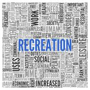 recreation concept word tag cloud design - stock illustration