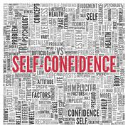 self confidence concept word tag cloud design - stock illustration
