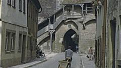 Rothenburg ob der Tauber 1954: street life Stock Footage