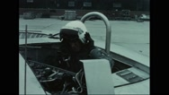 United States Airforce pilot preparing to take off avrocar Stock Footage