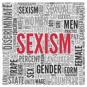 sexism concept word tag cloud design - stock illustration