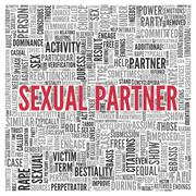 sexual partner concept in word tag cloud design - stock illustration