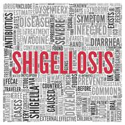 shigellosis concept in word tag cloud design - stock illustration
