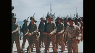 U.S Marine corps marching in procession with flags Stock Footage