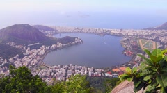 Suggar Loaf and Botafogo beach viewed from Corcovado mountain in Rio de Janeiro Stock Footage