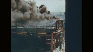 Hangars set on fire after explosion Stock Footage
