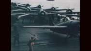 Navy aircraft ready to take off from carrier Stock Footage
