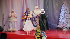 New Year's children's costume contest, presentation of gifts to the winners Stock Footage