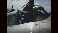 Pilot getting out of aircraft after victory Stock Footage