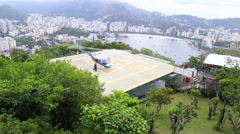Helicopter Taking Off viewed from Sugar Loaf mountain - stock footage