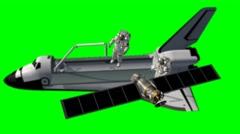 Space Shuttle Astronauts work at a satelite - green screen - 4k Stock Footage