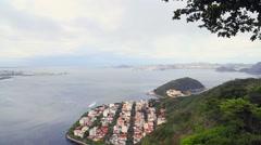 Urca beach viewed from Corcovado mountain in Rio de Janeiro, Brazil Stock Footage