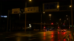 Traffic on the streets of Budapeast taken by night Stock Footage