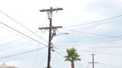 Lineman On Power Pole Stock Footage