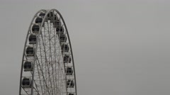 Ferris Wheel in Budapest, closeup, on a rainy and fogy day Stock Footage