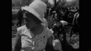 American protesters crossing the rope railings during Civil Rights March Stock Footage