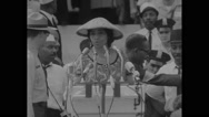 Marian Anderson singing at Lincoln Memorial during Civil Rights March Stock Footage