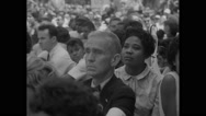 American protesters listening to Marian Anderson during Civil Rights March Stock Footage