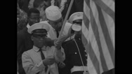 US Navy cadets standing with flags at Lincoln Memorial during Civil Rights March Stock Footage