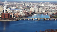 Aerial of the city of Boston, Massachusetts along the Charles River Stock Footage