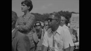 American protesters listening to speech during Civil Rights March Stock Footage