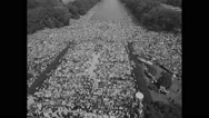 American protesters at Lincoln Memorial in Civil Rights march Stock Footage