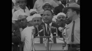Martin Luther King Jr delivering speech at Lincoln Memorial Stock Footage