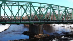 A view of a bridge in winter Stock Footage