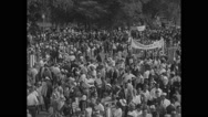 American protesters leaving rally after Civil Rights March Stock Footage