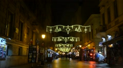 Christmas decorated main center street in Budapest called Vatica utca Stock Footage
