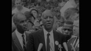 A. Philip Randolph addressing a press conference after Civil Rights March Stock Footage