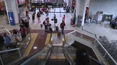 Escalator View on Santos Dumont Airport in Rio de Janeiro. - stock footage