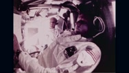 Astronauts working in Apollo 11 spacecraft Stock Footage
