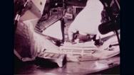 Astronaut Buzz Aldrin working in Apollo 11 spacecraft Stock Footage