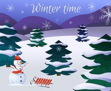 Winter Landscape Poster - stock illustration