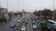 Traffic jam on the streets of Budapest taken by rainy and cold winter day Stock Footage