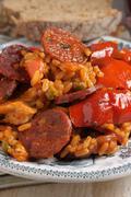 chicken and chorizo paella - stock photo